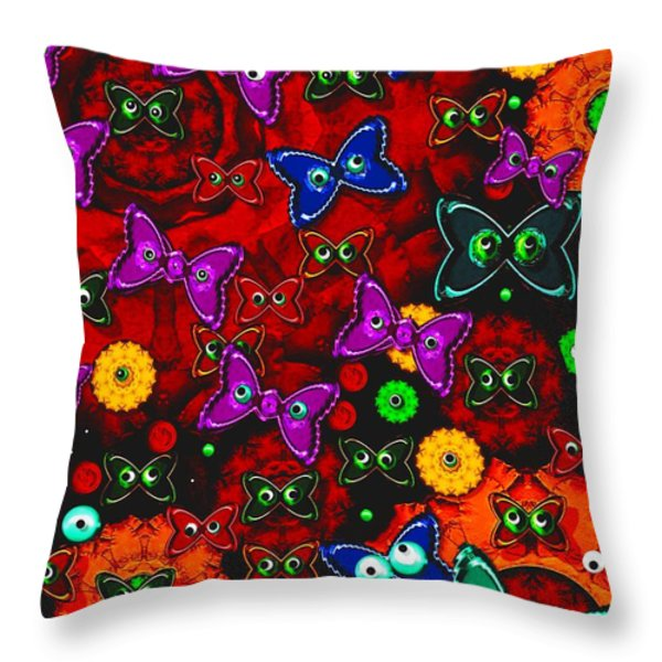 Cartoon In Happy Style Pop Art Throw Pillow by Pepita Selles