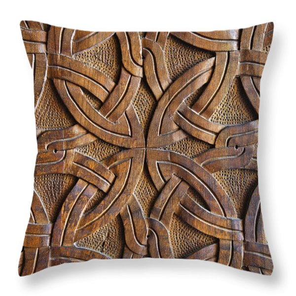 Carved Wooden Door In The Tsminda Sameba Cathedral Tbilisi Throw Pillow by Robert Preston