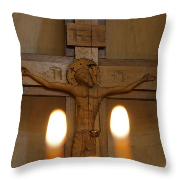Carving Of Jesus Christ On The Cross Inside Tsminda Sameba Cathedral Tbilisi Throw Pillow by Robert Preston