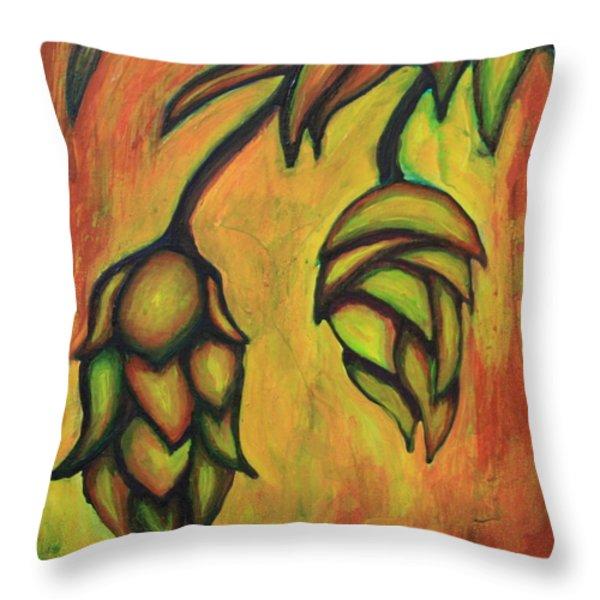 Cascade Hops Throw Pillow by Alexandra Ortiz de Fargher
