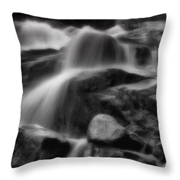 Cascades in Black and White Throw Pillow by Ellen Heaverlo