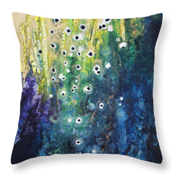 Cascading Colors Throw Pillow by Tara Thelen