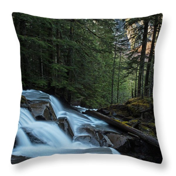 Cascading Mountain Falls Throw Pillow by Mike Reid