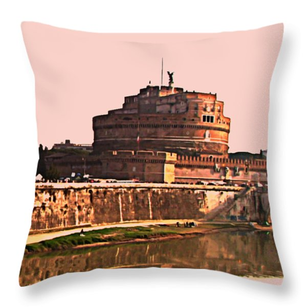Castel Sant 'Angelo Throw Pillow by BRIAN REAVES