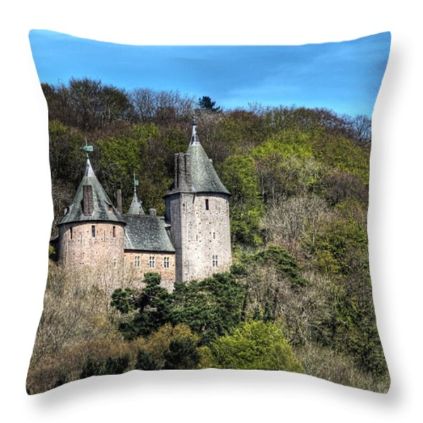 Castell Coch Cardiff Throw Pillow by Steve Purnell