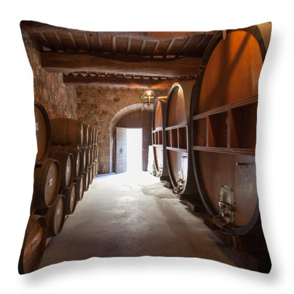 Castelle Di Amorosa Barrel Room Throw Pillow by Scott Campbell