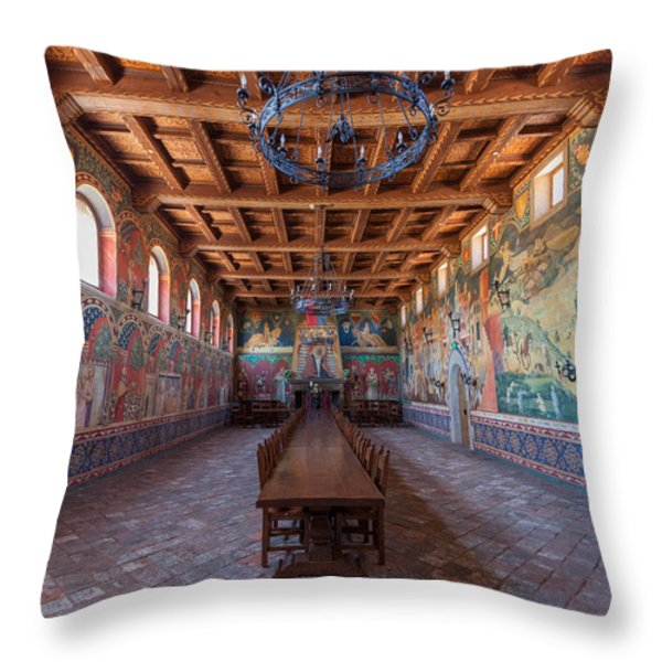 Castelle Di Amorosa Dining Hall Throw Pillow by Scott Campbell