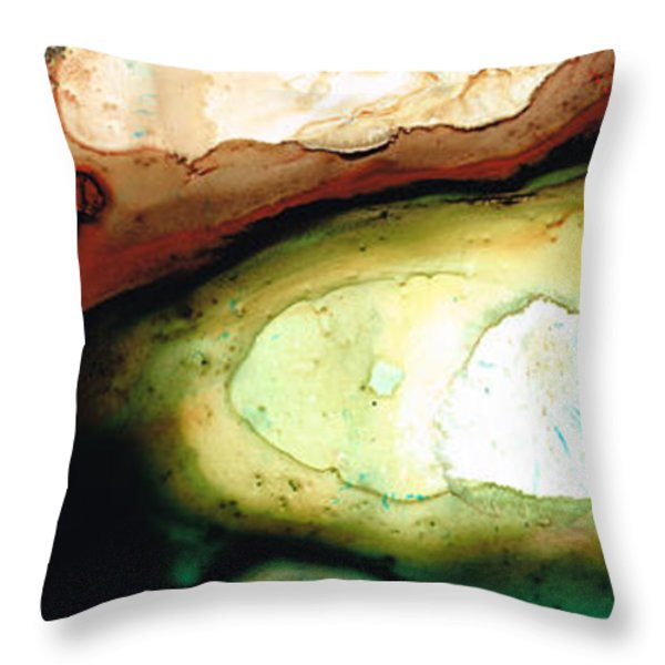 Casting Shadows - Earthy Abstract By Sharon Cummings Throw Pillow by Sharon Cummings