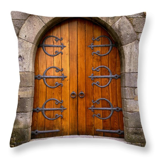 Castle Door Throw Pillow by Carlos Caetano