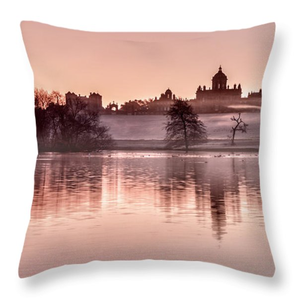Castle Howard Dawn Throw Pillow by Janet Burdon