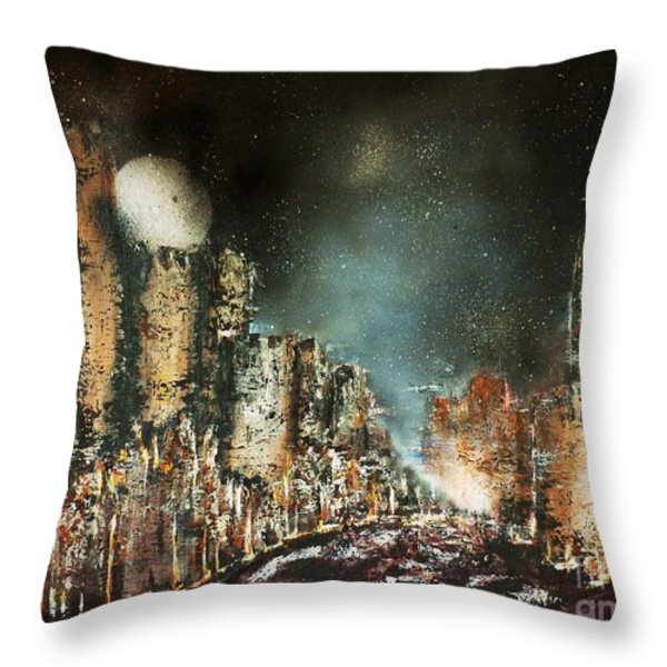 Castle Moonrise Throw Pillow by Kaye Miller-Dewing