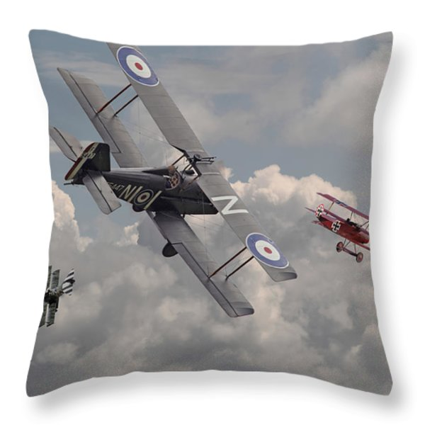 Cat among the Pigeons Throw Pillow by Pat Speirs