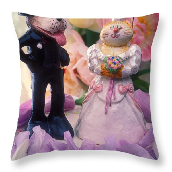 Cat and dog bride and groom Throw Pillow by Garry Gay