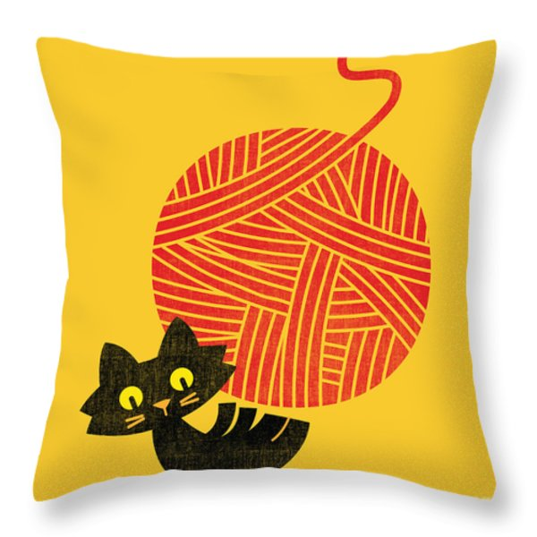 Cat And Giant Yarn Ball Throw Pillow by Budi Satria Kwan