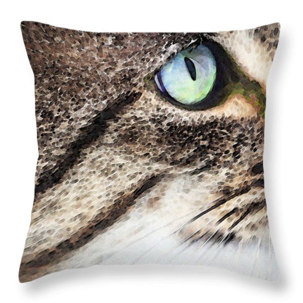 Cat Art - Looking For You Throw Pillow by Sharon Cummings