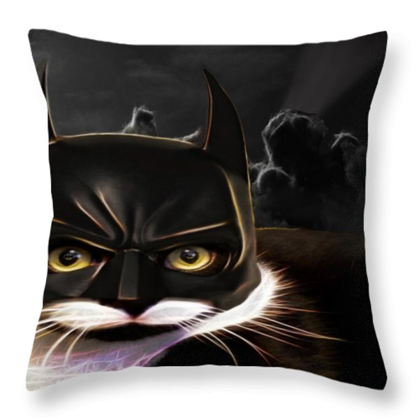 Cat Crusader Throw Pillow by Cheryl Young
