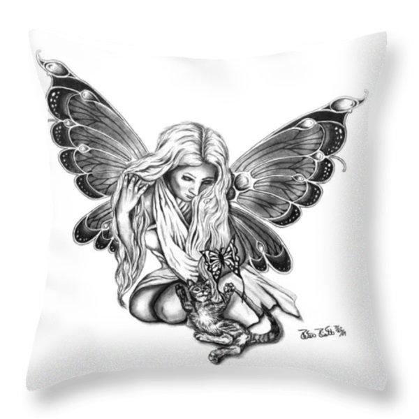 Cat Fairy  Throw Pillow by Peter Piatt