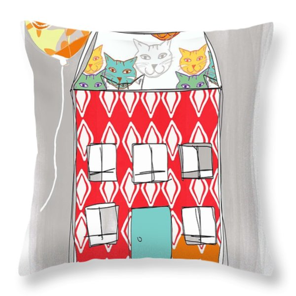 Cat House Throw Pillow by Linda Woods