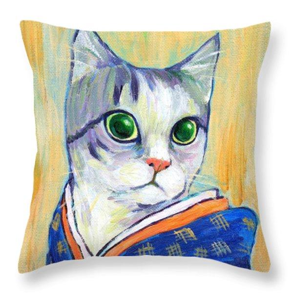 cat in kimono of Ukiyoe style Throw Pillow by Jingfen Hwu