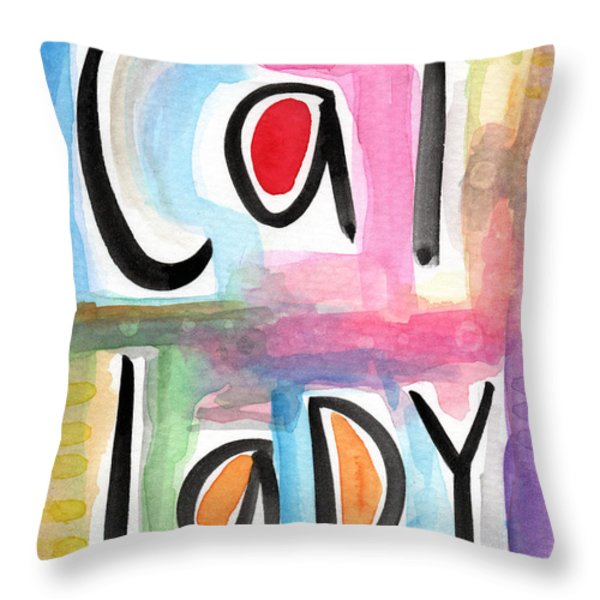 Cat Lady Throw Pillow by Linda Woods