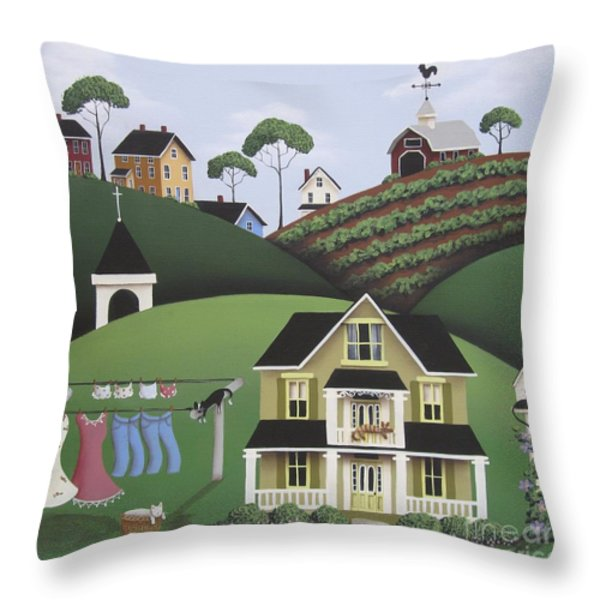 Cat Nap Throw Pillow by Catherine Holman