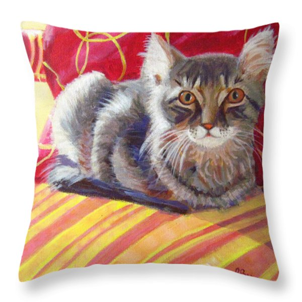 Throw Pillow On Chair : Cat On Red Chair Painting by Robie Benve