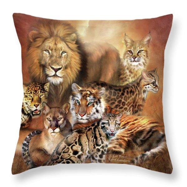 Cat Power Throw Pillow by Carol Cavalaris