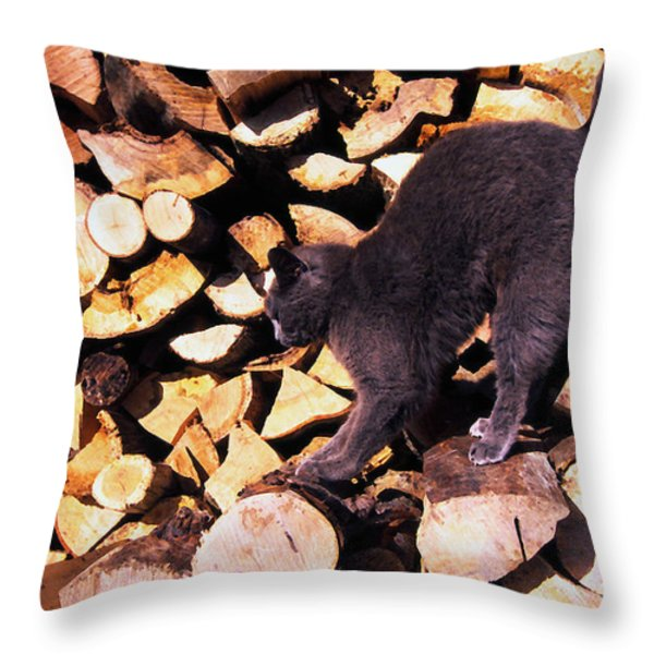 Cat Stretching On Firewood Throw Pillow by Thomas R Fletcher