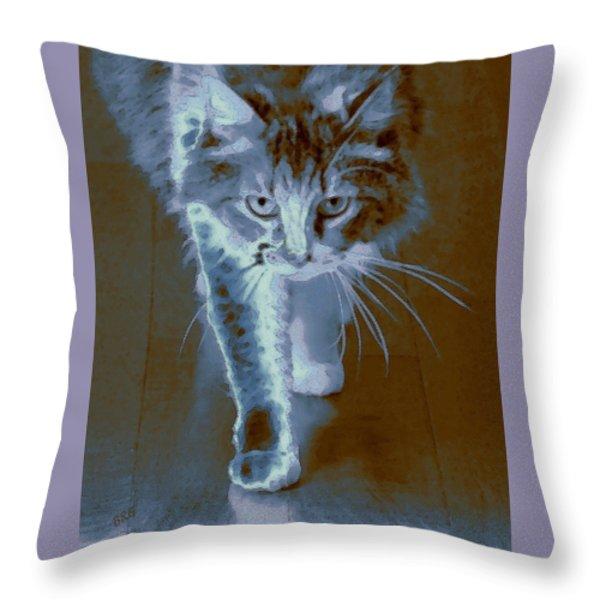 Cat Walking Throw Pillow by Ben and Raisa Gertsberg