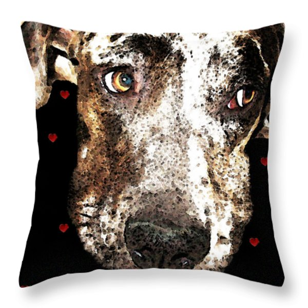 Catahoula Leopard Dog - Lover Throw Pillow by Sharon Cummings