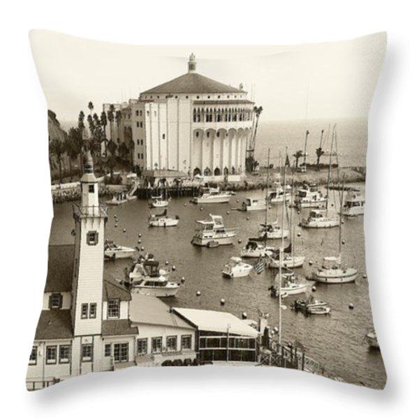 Catalina Island. Avalon Throw Pillow by Ben and Raisa Gertsberg