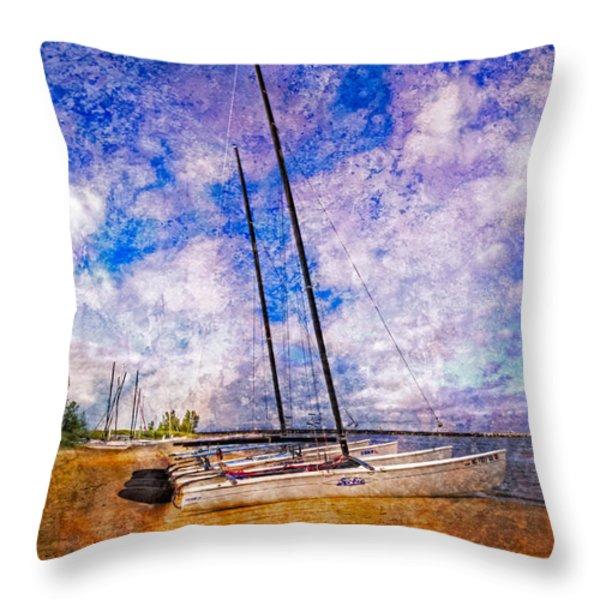 Catamarans at the Lake Throw Pillow by Debra and Dave Vanderlaan