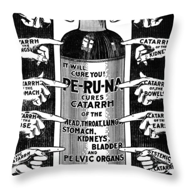 Catarrh Cure For What Ails You C. 1905 Throw Pillow by Daniel Hagerman