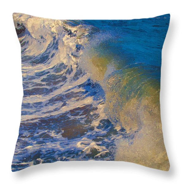 Catch A Wave Throw Pillow by John Haldane