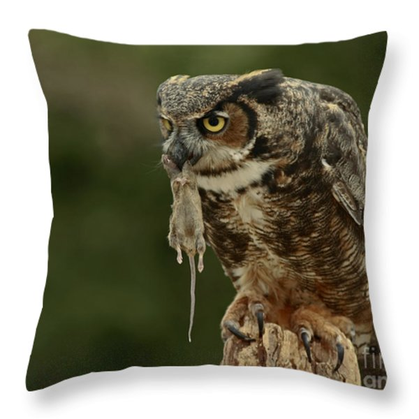 Catch Of The Day - Great Horned Owl  Throw Pillow by Inspired Nature Photography By Shelley Myke