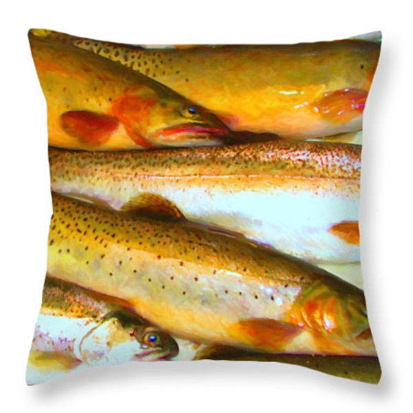 Catch of The Day - Painterly - v2 Throw Pillow by Wingsdomain Art and Photography