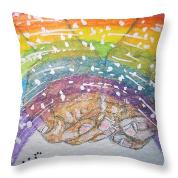 Catching A Rainbbow Throw Pillow by Kathy Marrs Chandler