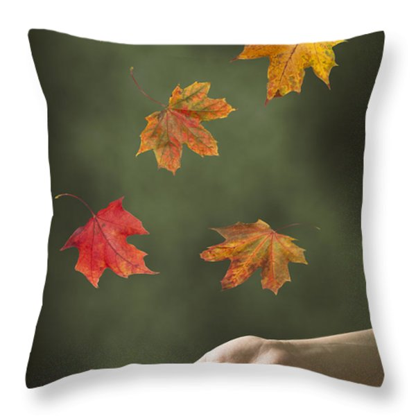 Catching Leaves Throw Pillow by Amanda And Christopher Elwell