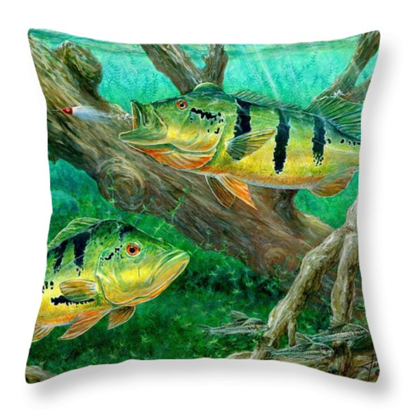 Terry Bird Decorative Pillow : Catching Peacock Bass - Pavon Painting by Terry Fox