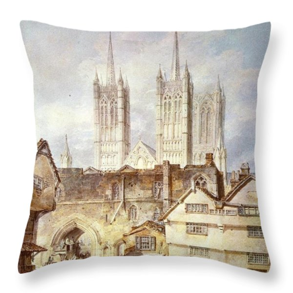 Cathedral church at Lincoln 1795 Throw Pillow by Joseph Mallord William Turner