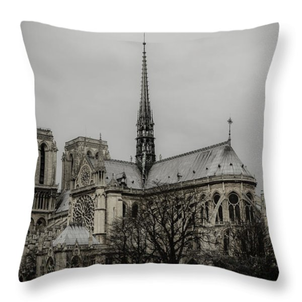 Cathedral Of Notre Dame De Paris Throw Pillow by Marco Oliveira