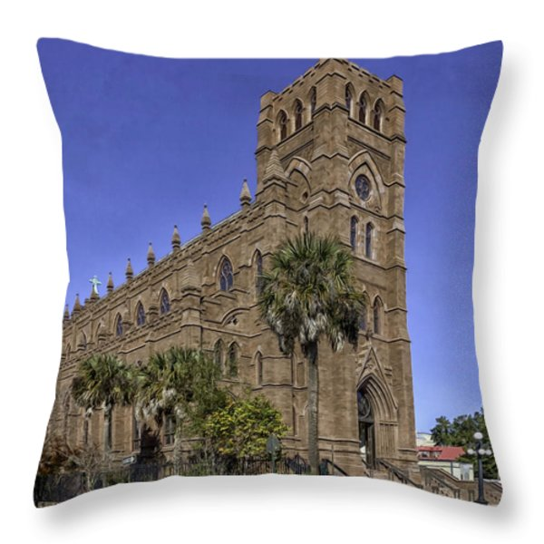 Cathedral Of St. John The Baptist Charleston Throw Pillow by Lynn Palmer