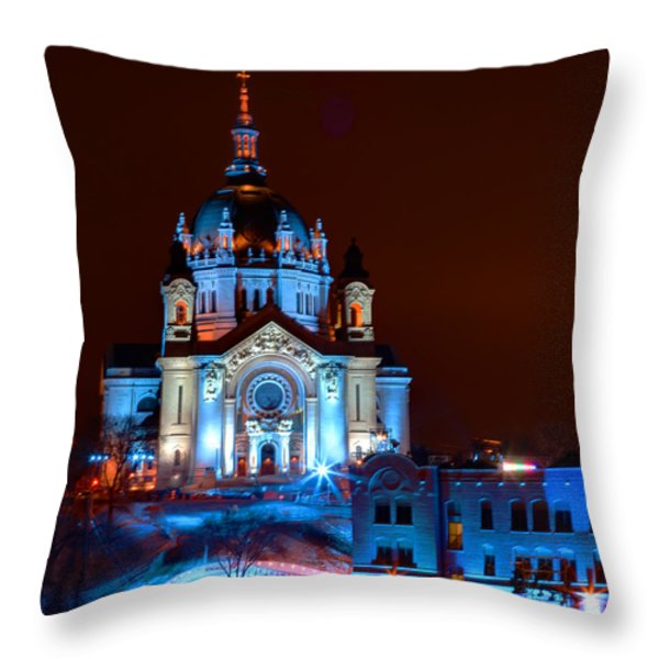 Cathedral Of St Paul All Dressed Up For Red Bull Crashed Ice Throw Pillow by Wayne Moran