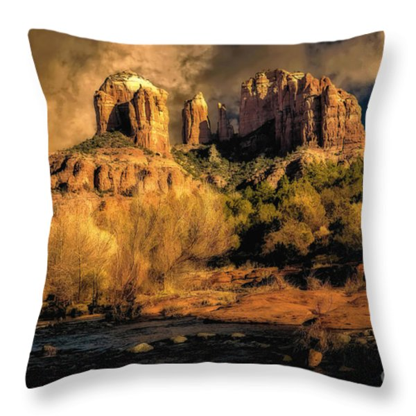 Cathedral Rock Before The Rains Came Throw Pillow by Jon Burch Photography