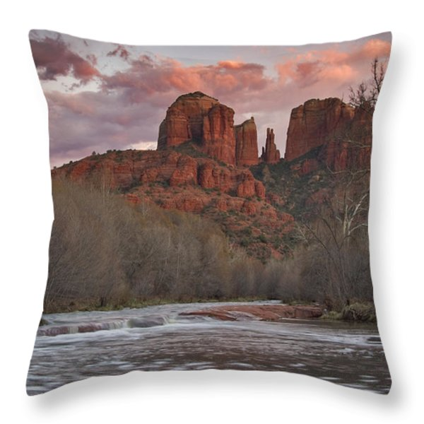 Cathedral Rock Sunset Throw Pillow by Paul Riedinger