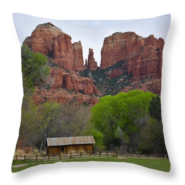 Cathedral Rock V Throw Pillow by Dave Gordon