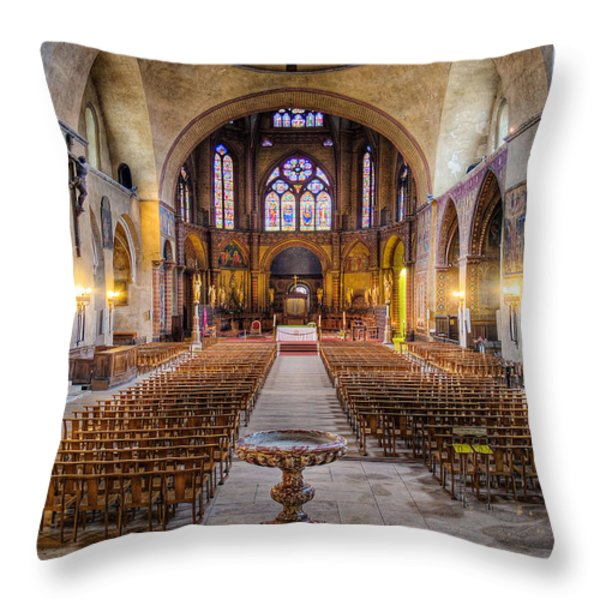 Cathedrale Saint-etienne Interior / Cahors Throw Pillow by Barry O Carroll