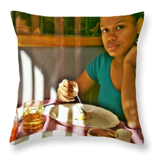 Catherine at the Diner Throw Pillow by Sarah Loft