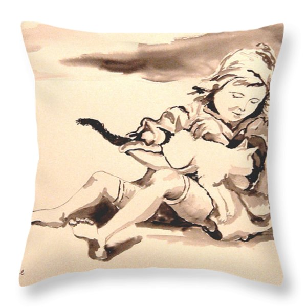 Cathy And Her Cat Throw Pillow by Diane Kraudelt
