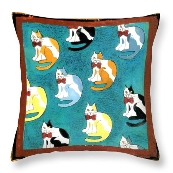 Cats Throw Pillow by Genevieve Esson